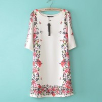 Shift White Half sleeve Floral Polyester Fashion Dresses
