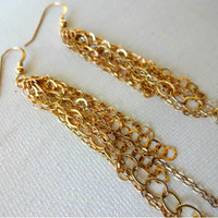 Handmade Mixed Metal 14k Gold Fill and Vintage 925 Sterling Silver Fringe Dangle Drop Earrings - Gold and Silver Delicate Modern Statement