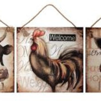 "3 Wall Art Canvases - Cow Reads  "" Family """