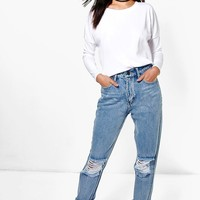 Penny Light Blue Open Knee Boyfriend Jeans