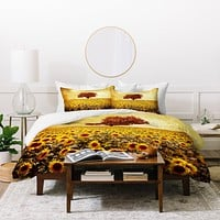 Viviana Gonzalez Lone Tree And Sunflowers Field Duvet Cover