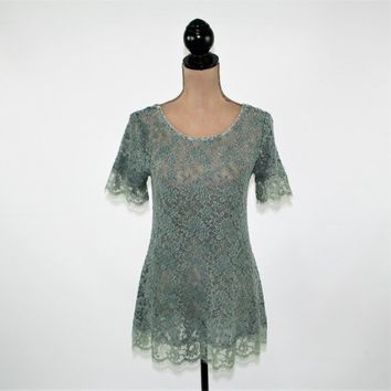 Romantic Top Lace Top Boho Blouse Teal Top Short Sleeve Sheer Long Top Scoop Neck See Through Blouse Green Boho Clothing New Womens Clothing
