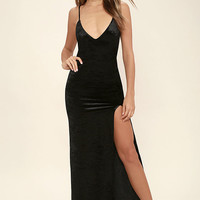 Nobody But You Black Velvet Maxi Dress