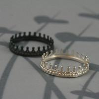 Sterling Silver Crown Band--Check Mate--Crown Ring--Queen or King Wedding Band--Custom Made in YOUR Size