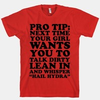 """Pro Tip: Next Time Your Girl Wants You To Talk Dirty Lean In And Whisper """"Hail Hydra"""""""
