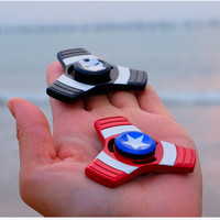 2017 Hot Iron Man Captain America Tri Hand Spinner Fidget Toy EDC Desk Focus Toy Fidget Spinner toy For Kids Adults Finger with Retail Box