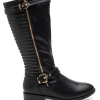 Trouve-2 Luxe Quilted Biker Boot