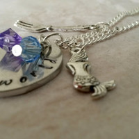 Little Mermaid Hand stamped necklace Part of Your World quote