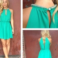Green Mini Dress with Beaded Neckline & Cutout Front & Back