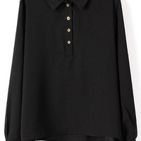 Black Lapel Long Sleeve Buttons Loose Blouse - Sheinside.com
