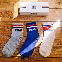 FILA Popular Women Men Casual Letter Print Breathable Pure Cotton Sport Socks - Boxed