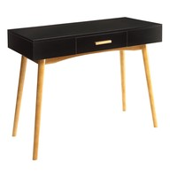 Modern Black Writing Desk with wood legs