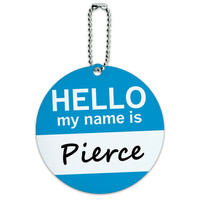 Pierce Hello My Name Is Round ID Card Luggage Tag