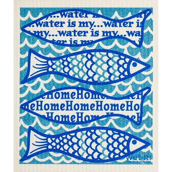 Water Is My Home - Swedish Reusable Wash Cloth