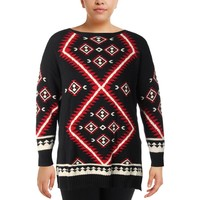 Ralph Lauren Womens Knit Printed Pullover Sweater