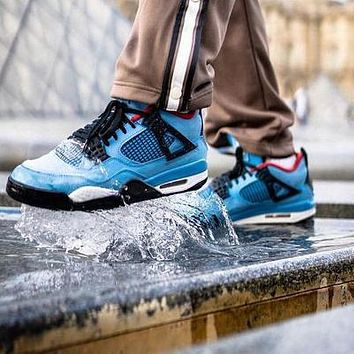 Bunchsun Nike Air Jordan 4 Retro Trending Men Casual Sport Running Basketball Shoes Sneakers Blue