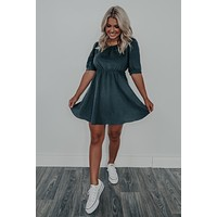 Caught In The Middle Dress: Navy