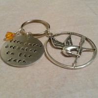 Hunger games quote keyring keychain handmade handstamped