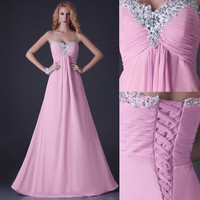 IN Stock Strapless Chiffon Bridesmaid Party Gown Prom Evening Formal Long Dress