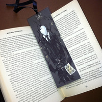 Slenderman III - Handmade Laminated Bookmark Print with Silver Charm