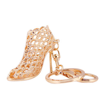 Cute Women High Heel Shoes Keychain Cars Keyrings Lady Gifts Rhinestone Key Rings Women Bag Charms Keychains Keyrings Crystal SN9
