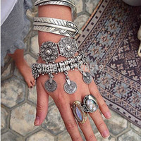 1pc lady Charms Vintage Silver coin Gypsy Boho Coachella Moon lovers Beachy Chic Festival Turkish Wrap Bracelet Anklet jewelry