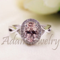 New Oval Cut  6x8mm VS  Halo Morganite Ring 14K White Gold Diamonds Wedding Ring /Engagement Ring/ Promise Ring/ Anniversary Ring/ Fine Ring