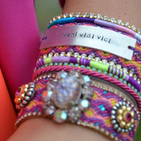 Gypsy cuff series AW2012 - Bohemian hippie friendship bracelet in neon colours with Swarovski chrystal and handstamped tag 'Veni Vidi Vici'