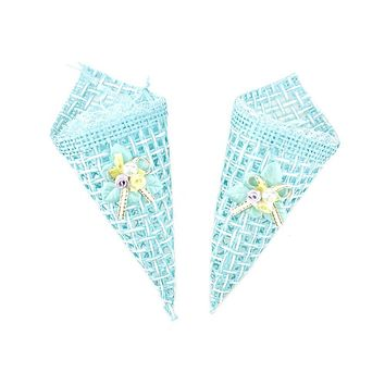 Baby Shower Favor Bag Cone Shape, Blue, 7-Inch, 2-Count