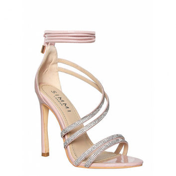 Shay Blush Diamante Strappy Lace Up Heels : Simmi Shoes