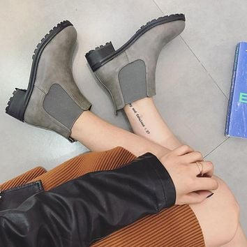 Round Toe Slip On Motorcycle Boots for Women 7153