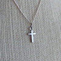 Plain Cross Dainty Charm Necklace - Christian, Christianity, Jesus, Easter, God