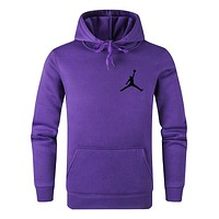 Jordan Tide brand solid color wild casual sports hooded sweater Purple