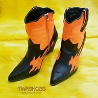 Flames Neon Orange Snake Western Pull On Zipper Cowboy Ankle Boots
