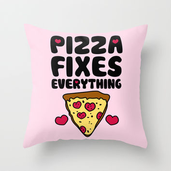Pizza Fixes Everything Throw Pillow by LookHUMAN