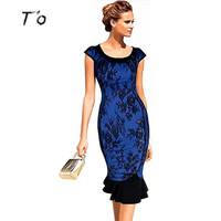 T'O High Class Elegant Classic vintage  Lace Button Big Fashion Wear To Work Prom Party Mermaid Midi Pencil Bodycon fit Dress 28