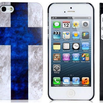 Finland Flag Plastic Case for iPhone 5S/S