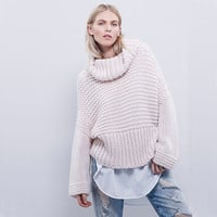 2015 Autumn Women Long Flare Sleeve Knitted Cowl Neck Loose Casual Sweater Cable Fall Jumper Pink Grey Black Pullover = 1946252804