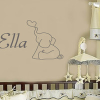 Baby Elephant with Personalized name - Boy or Girl Wall Decal  with Personalized Name - Large Size Options Nursery quotes 39+ Colors