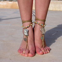 Colourfull beads Barefoot sandals. wedding sandals. hippie barefoot sandals , barefoot sandles, crochet barefoot sandals, , yoga, anklet