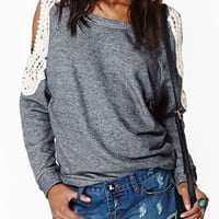 Grey Crochet Lace Sleeve T-shirt