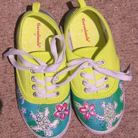 """Handpainted Lilly Pulitzer Inspired Shoes """"Moving Slowly"""""""