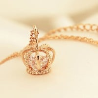 Diamond Heart Crown Necklace