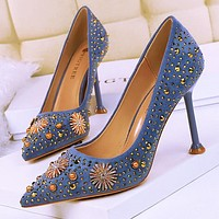 Vintage high heel suede shallow mouth pointed rhinestone metal decoration rhinestone rivet sexy single shoes haze blue