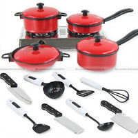 13Pcs Set Kid Children Red Kitchen Utensil Accessories Cooking Play Toy Cookware 70115302