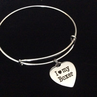 I Love my Boxer Stainless Steel Expandable Charm Bracelet Handmade in USA Dog Wire Bangle Gift Trendy Stacking