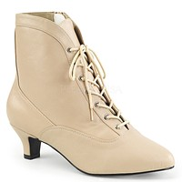 "Fab 1005 Leatherette 2"" Heel Lace Up Ankle Boot Cream"
