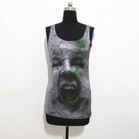 Hysterical roaring tshirts, head tshirt, face in the ground tanktop, a man open mouth tshirts