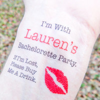 15 Bachelorette Tattoos - Bachelorette Party Temporary Tattoos - FREE Matching Bride Tattoo - If I'm Lost, Please Buy Me A Drink