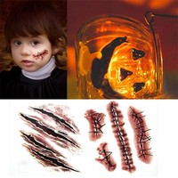 Halloween Party Zombie Scars Injuries Wound Tattoo Stickers Decals Waterproof Convenient Temporary Tattoos